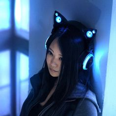 Wired Cat Ear Headphones LED Lights Music Gaming Rechargeable Headset Light Blue