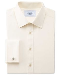 Charles Tyrwhitt slim fit end-on-end cream shirt