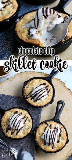This fun chocolate chip skillet cookie is a quick and easy dessert! Also called a pizookie this tasty cookie is baked in a cast iron skillet and topped with vanilla ice cream for a delicious combination of warm and gooey cookie with cool ice cream.