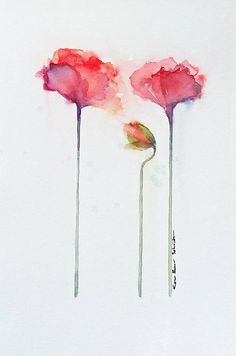 Red Poppies Watercolor original 15 x 22 inches