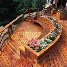 Pretty Curved Bench flanked by built-in planters
