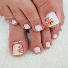 Pedicure Designs, Manicure E Pedicure, Nail Salon Design, Beautiful Toes, Cute Nails, Projects To Try, Nail Art, Beauty, Lei