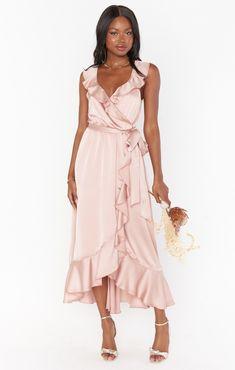 Samantha Ruffle Wrap Dress Pink Bridesmaid Dresses Short, How Many Bridesmaids, Short Dresses, Wedding Dresses, Pregnancy Wardrobe, Maternity Wardrobe, Burnt Orange Dress, Party Fashion, Maternity Dresses