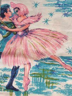 vintage ballet print fabric, 1950's