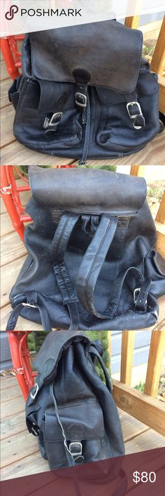 Piel Leather Buckle Flap Backpack Distressed Punk Awesome black Piel backpack.  Bag is scuffed, stained, scratched & the leather has become soft & distressed but this bag is so sturdy that it's made to take a beating! front buckle needs to have the latch replaced ( can prob be done at a cobbler or leather shop)  Main compartment features an inside zippered pocket & small zip-pocket on flap. 2 front gusseted pockets with hidden buckle thumb clasp. top handle for easy carrying, adjustable…
