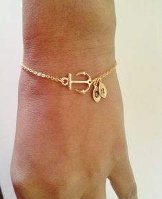 Anchor bracelet,silver or gold anchor bracelet,best friend gift,initial bracelet,initial leaf and anchor,personalized bracelet via Etsy