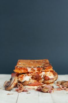 """""""The Canadian"""" Pizza Grilled Cheese   bsinthekitchen.com #sandwich #grilledcheese #pizza"""