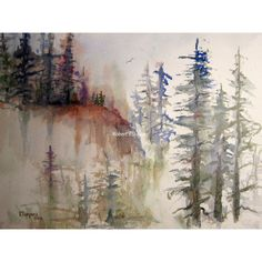 A Mountain Pass, Print of Original Watercolor Painting, landscape... (33 AUD) ❤ liked on Polyvore featuring home, home decor, wall art, forest wall art, mountain painting, watercolor tree painting, tree wall art and watercolor landscape paintings