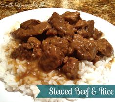 Chunks of beef slow-cooked until tender with a rich gravy served over rice.