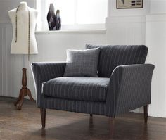 Grey pinstripe chair