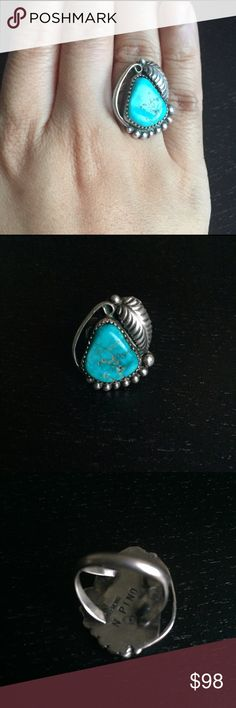 Signed N. Pino Navajo Turquoise Sterling Ring This is a size 5.5 Navajo signed Turquoise and sterling silver ring.  Looks like a little blue pear! Vintage Jewelry Rings