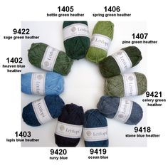 Léttlopi from Ístex: new wool, unpsun, Aran weight has 49 Ístex shades but also 9 extra shades (bright colors and 1 tweed) Icelandic Sweaters, Knit Sweaters, Heather Green, Spring Green, Green Sweater, Color Combos, Sewing Crafts, Knitting Patterns, Crafty