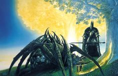 Morgoth and Ungoliant poisoning the Two Trees of Valinor. Morgoth is Sauron's boss. Ungoliant is one of the ancestors of Shelob, very deadly. Together, they snuck into Valinor, where Morgoth struck the Two Trees with his poisoned sword. Ungoliant then drained the life from the Two Trees. A condensed version of what is written in The Silmarillion.- John Howe