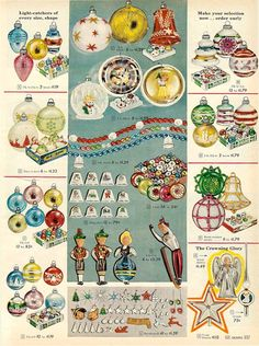 1958 Sears Christmas Catalog - penny candy: Christmas Decorations & Ornaments from Vintage Catalogs