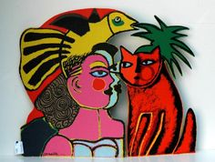 Corneille ('Corneille' Guillaume Beverloo) - Woman with cat and bird - metal, painted Tachisme, Cobra Art, Ernst Ludwig Kirchner, Dutch Artists, Art Studies, Pottery Art, Art Forms, Pet Birds, Art Lessons