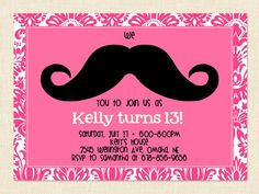 For Kaylee Teen Girl Mustache Birthday Invitation Pink By BusyChickadees 1000 13th