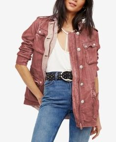 Free People Double Cloth Cotton Utility Jacket - Pink XS