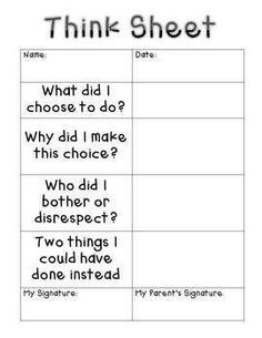 """00 Think Sheet – Classroom Management Have students write on this """"Think Sheet"""" as they think about their behavior. It's a great way to calm down class conflicts before talking about the situation at hand. Classroom Behavior Management, Behaviour Management, Classroom Consequences, Classroom Behaviour, Classroom Discipline, Behavior Incentives, Behavior Interventions, Student Behavior, Future Classroom"""