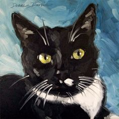 Original oil painting custom pet portrait of Kip, the Tuxedo cat, 8 x 8 inches by Diane Irvine Armitage.