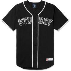 Stussy Black Stussy Baseball Jersey ( 50) ❤ liked on Polyvore featuring  stussy and baseball jerseys 60b9e9e13