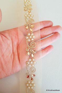 Gold Sheer trimmen, goldener Stickerei mit FlatBack Pearl und Gold Perlen Verzierung, ca. 45 mm breit - 140316L 193