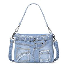 Fashion Blue Genuine Denim Jean Cloth Handbag