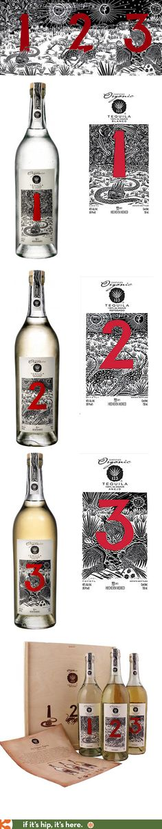 123 (Uno Dos, Tres) Organic Tequilas' illustrated labels and branding. Wine Design, Bottle Design, Cachaca, Wine Packaging, Packaging Design, Tequila, Visual Diary, Rum, Whiskey Bottle