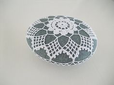crochet / lace stone pebble home deco paper by Laughingneedle
