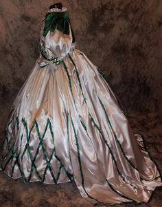Gone With The Wind Civil War Ball Reenacting Dickens Victorian Dress Scarlett's Return to Tara Striped Gown