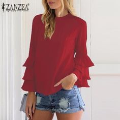 $12.37  ZANZEA Women 2017 Spring Ladies Elegant Blouses Shirts O Neck 3/4 Sleeve Solid Blusas Tops Casual Loose Pullover Plus Size