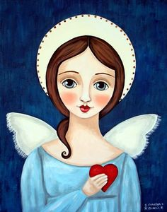 Image may contain: 1 person Madonna, Karla Gerard, Angel Artwork, Angel Drawing, I Believe In Angels, Ange Demon, Angel Pictures, Mexican Folk Art, Whimsical Art
