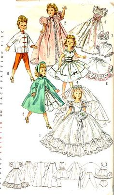 Simplicity 1808. 1956. Doll Wardrobe. CoPA with pattern pieces.