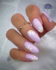 Purple Acrylic Nails, Almond Acrylic Nails, Best Acrylic Nails, Purple Nails, Pastel Nails, Almond Nail Art, Yellow Nails, Green Nails, Chic Nails