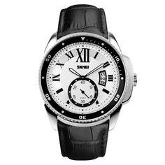 SKMEI 1135 Fashion Men Quartz Watch Leather Strap Waterproof Business Wristwatch