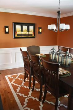 Burnt orange dining room.
