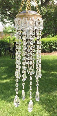 Solar Chandelier, light - Crystal Clear - glass outdoor or indoor mobile, sun catcher by GardenBlingbyKristin on Etsy