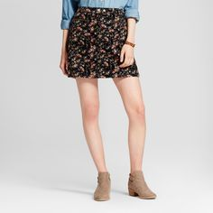 Women's Corduroy Floral Print Skirt - Mossimo Supply Co. Black Floral14, Size: 14, Black Floral