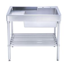 Whitehaus WH33209 LEG NP Pearlhaus Brushed Stainless Steel Single Bowl Utility  Sink With Drainboard