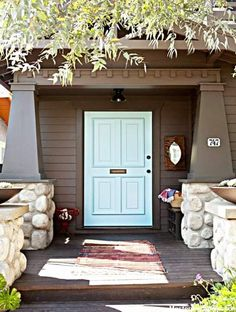30 Best Front Door Paint Colors - Beautiful Paint Ideas for Front Doors - My Hom. Aqua Front Doors, Aqua Door, Best Front Doors, Front Door Paint Colors, Exterior Paint Colors For House, Solid Doors, Painted Front Doors, Front Door Design, Paint Colors For Home