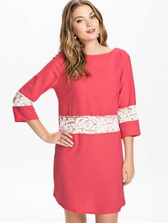 Lace Insert Crepe Dress in Pink by John Zack