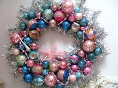 Super SALE SHABBY  Vintage ORNAMENT Christmas Tinsel Wreath Blue pink Mica Shiny Brite.