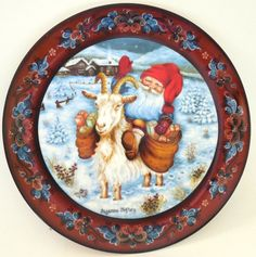 Norwegian Julestemning Spirit of Christmas Plate 9 Nisse and Goat Suzanne Toftey
