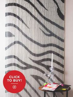 Zebra Bamboo Curtain hand painted from Vietnam. Only at Earthbound.