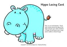 Hippo Lacing Card