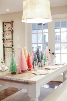 Whimsical Christmas Tablescapes & Centerpieces — Ravishing in Plaid - Brittany Burke Whimsical Colorful Table Decor for Whimsical Christmas, Cool Christmas Trees, Noel Christmas, Pink Christmas, Winter Christmas, Christmas Crafts, Colorful Christmas Decorations, Modern Christmas Decor, Christmas Tree Table