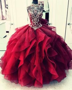 High Neck Crystal Beaded Bodice Corset Organza Layered Quinceanera Dresses  Ball Gowns b158c7c65ffc