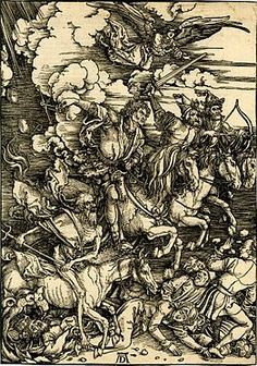 Woodcut depicting the four horsemen of the Apocalypse, from Apocalypsis cum Figuris by Albrecht Dürer, 1498.