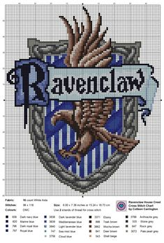ravenclaw house crest cross stitch pattern | Tumblr