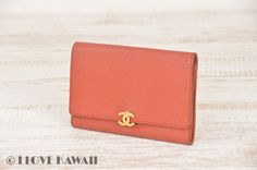CHANEL Orange Caviar Skin Leather Bifold Coin Purse Wallet