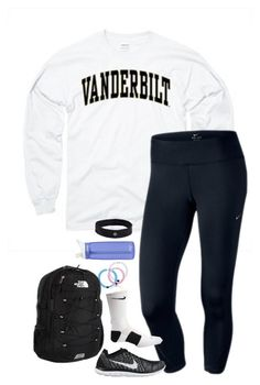 """school outfit tomorrow"" by lilypackard ❤ liked on Polyvore featuring NIKE, The North Face, CamelBak, lululemon, women's clothing, women, female, woman, misses and juniors"